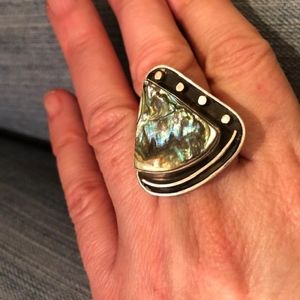 Navajo Boho Abalone Sterling Silver Ring Sz 7 Adj